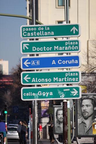 Autovía A-6 - Sign for Autovía A-6 in central Madrid