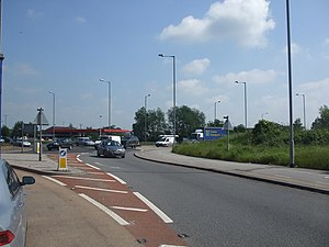 A17 road (England) - Western terminus of the A17 at the heavily congested Winthorpe roundabout