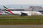A6-EFH Emirates Boeing 777-F1H departing via Rwy25C to Atlanta (KATL) @ Frankfurt (EDDF) - 14.05.2015 (18049459270).jpg