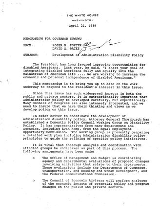 Americans with Disabilities Act of 1990 - Development of George H.W. Bush Administration Disability Policy. White House Memo. April 21, 1989.