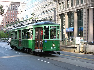 Peter Witt streetcar - This ex-Milan car, now operating in San Francisco, carries the two-tone green color scheme used by Milan from the 1930s to the 1970s