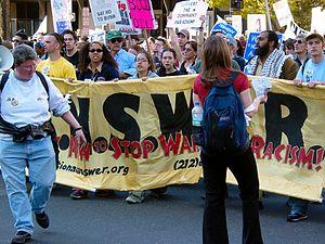 A.N.S.W.E.R. - ANSWER banner at the head of an April 12, 2003, anti-war march in Washington, D.C.