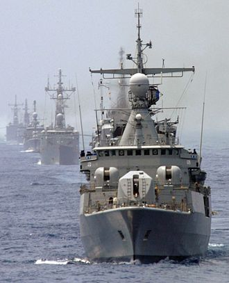 Foreign relations of Argentina - Argentine destroyer Almirante Brown leads a formation into the Persian Gulf, 1991. President Carlos Menem's decision to send a token presence into the Gulf War earned him a close alliance with U.S. President George H. W. Bush.
