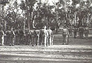 28th Battalion (Australia) - Image: AWM 067977 28th Aust Inf Bn changing of the guard 1944
