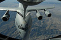 A C-17 Globemaster III receives fuel from a KC-135 Stratotanker. Both aircraft are from the 452nd Air Mobility Wing March ARB.jpg