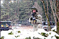 A Georgian soldier provides security outside a training village at the Joint Multinational Readiness Center in Hohenfels, Germany, as part of a Georgian mission rehearsal exercise (MRE) 130214-M-AM607-118.jpg