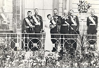 Grand Duke George Mikhailovich of Russia (1863–1919) -  A Romanov gathering. From left to right: Tsar Nicholas II of Russia, Grand Duke Konstantin Konstantinovich, Grand Duchess Maria Pavlovna, the elder, Grand Duke Sergei Alexandrovich, Grand Duke Michael Nikolaevich, Grand Duke George Mikhailovich and Grand Duke Sergei Mikhailovich.