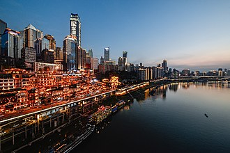 Chongqing - A sunset view of Chongqing Central Business District and Hongya Cave, taken in 2017