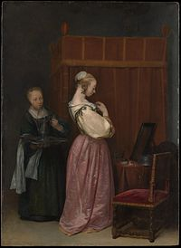 A Young Woman at Her Toilet with a Maid - Gerard ter Borch - Q28925690.jpg