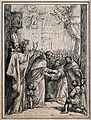 A bishop saint with Saint Dominic Guzman (?) greeting two mo Wellcome V0033247.jpg