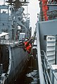 A crewman sits on a boatswain's chair while cleaning the side of the destroyer USS CONOLLY (DD 979) - DPLA - d1a1a779f2c9784cdecd2064ebe1a4d1.jpeg