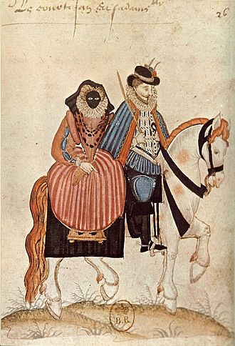 Visard - A 16th-century woman wears a visard while riding with her husband.