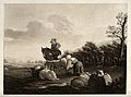 A mounted man looks on while a shepherd girl milks a ewe. Aq Wellcome V0039609.jpg