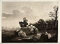 A mounted man looks on while a shepherd girl milks a ewe. Aq Wellcome V0039609.jpg