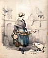 A woman is selling fish from a large flat basket strapped to Wellcome V0039680.jpg