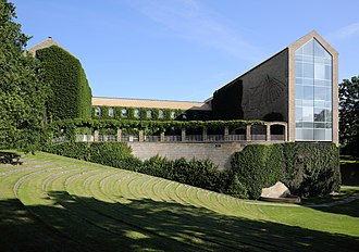 Aarhus University - View of The Main Building overlooking the University Park. The building was finished in 1946 and holds the university assembly hall.