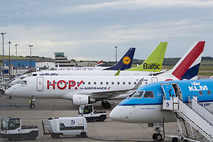 Aberdeen Airport - Various aircraft at Aberdeen International Airport in July 2014