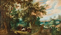 Abraham Govaerts - Wooded landscape with shepherds and their flock.jpg