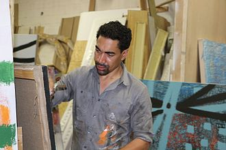 Oscar Abreu - Abreu working in his studio in New York City