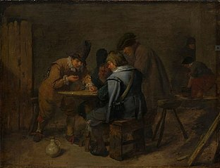 Soldiers playing dice in a tavern