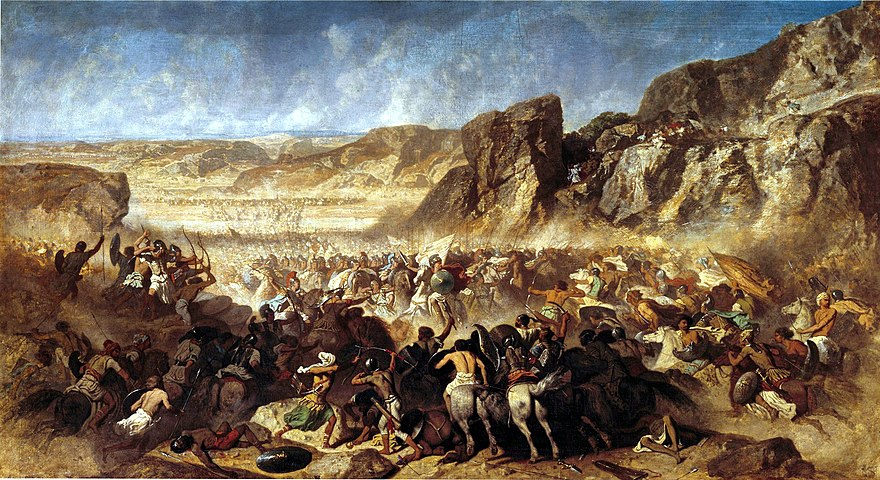 "Battle of Cunaxa, where Cyrus the Younger died. The Greek mercenaries of Cyrus (the ""Ten Thousand""), are shown being encircled. Adrien Guignet - Retreat of the ten thousand.jpg"