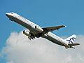 Aegean Airbus A321 (SX-DVO) departs London Heathrow 2ndJuly2014 arp.jpg