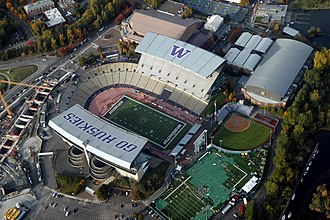"Husky Stadium - An aerial view of Husky Stadium as seen the day before the start of the 2011 renovation project. ""Go Huskies"" and the ""W"" logo were painted on the north and south decks in September 2008."