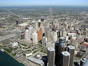Aerial View of Downtown Detroit and Rennaissance Center