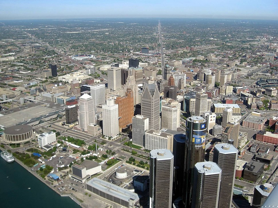Aerial view of Downtown Detroit with the Riverfront