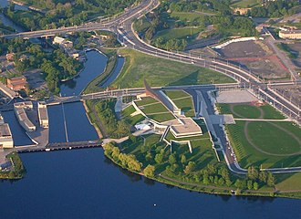 Canadian War Museum - Aerial view of the new Canadian War Museum site in LeBreton Flats
