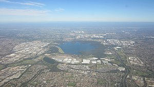 Greater Western Sydney - Aerial view of the suburbs surrounding Prospect reservoir (looking to the west).