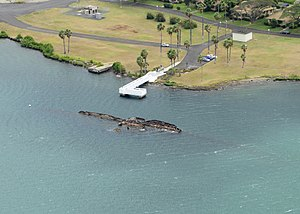 An aerial view of the USS Utah Memorial at Ford Island, Joint Base Pearl Harbor-Hickam, Hawaii (USA).