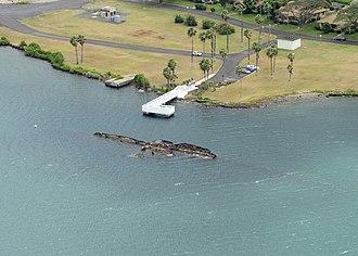 USS Utah (BB-31) - Aerial view of the USS Utah Memorial at Ford Island, Joint Base Pearl Harbor-Hickam, Hawaii