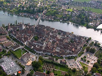 Stein am Rhein - Aerial view of Stein am Rhein, showing the Rhine and the compact medieval town