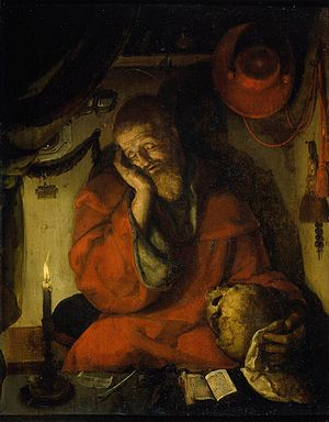 Aertgen van Leyden - St. Jerome in his study by candlelight, ca. 1520.