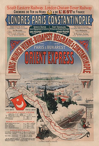 Orient Express - Poster advertising the winter 1888–1889 timetable