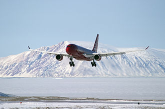 Air Greenland - Air Greenland Airbus A330-200 on approach to Kangerlussuaq Airport (2004)