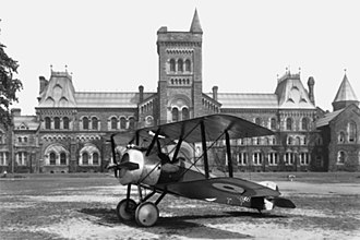 University of Toronto - A Sopwith Camel aircraft rests on the Front Campus lawn in 1918, during World War I.