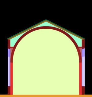 Aisleless church - Scheme of an aisleless church, here with wallside pilasters and a barrel-vault.