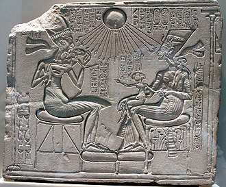 Amarna art - Akhenaten, Nefertiri and three daughers beneath the Aten, Berlin
