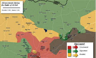 Map of the battle up to January 1 Albab2.png
