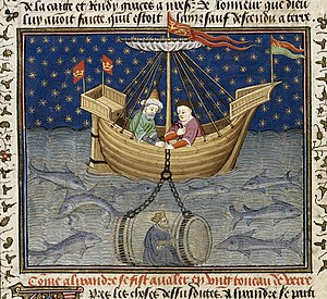 Talbot Shrewsbury Book - Alexander in a submarine - British Library Royal MS 15 E vi f20v (detail)