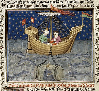 Talbot Shrewsbury Book - Alexander in a submarine - British Library Royal MS 15 E vi f20v (detail)