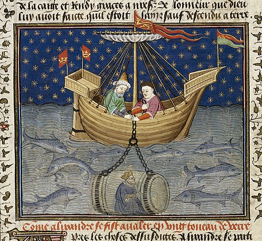 Alexander in a submarine - British Library Royal MS 15 E vi f20v (detail)