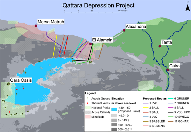 Map of the flooded Qattara Depression, with several proposal waterway routes