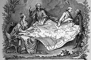 Partitions of Poland - Allegory of the 1st partition of Poland, showing Catherine the Great of Russia (left), Joseph II of Austria and Frederick the Great of Prussia (right) quarrelling over their territorial seizures