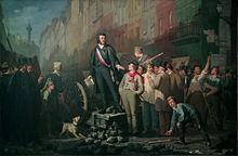 tableau représentant Baudin sur une barricade