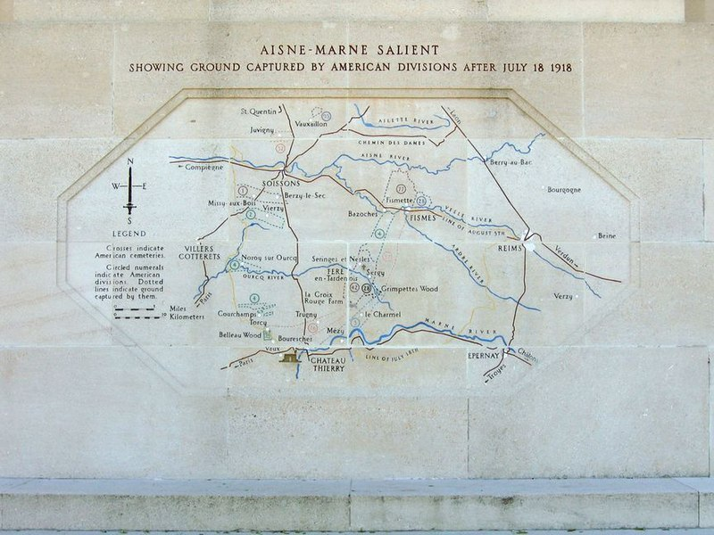 Battle map on the Château-Thierry American Monument corresponding to the 2nd Battle of The Marne.