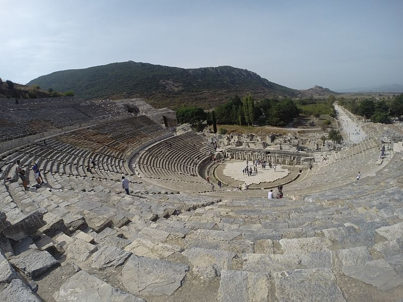 Image of the amphitheater at Ephesus archaeological site, with harbour street in background, 2014