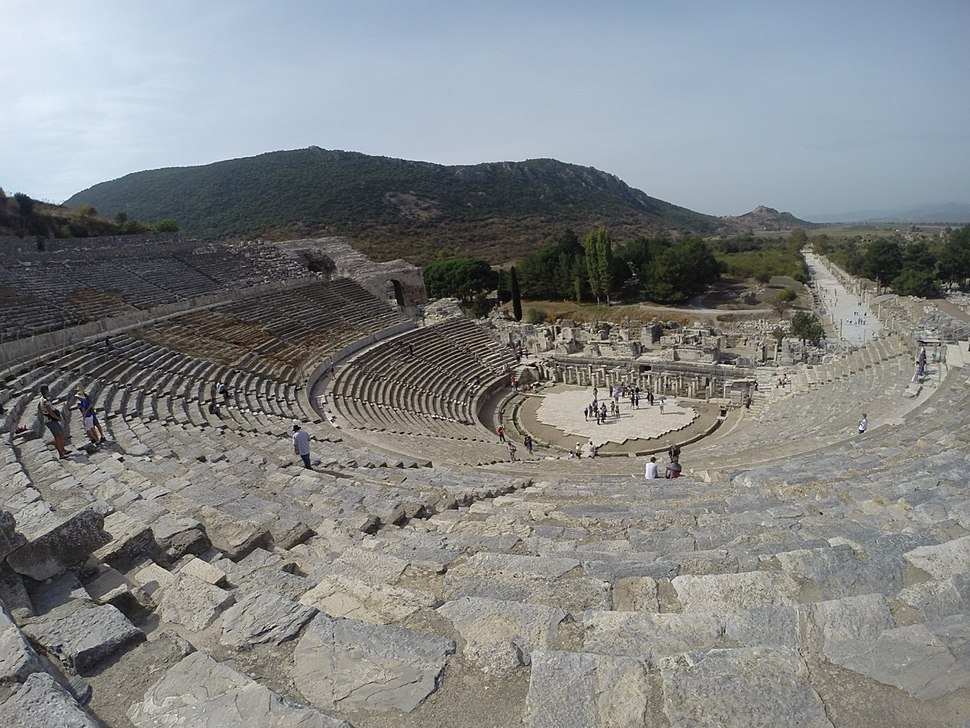 Amphitheater at Ephesus archaeological site, with harbour street in background, 2014